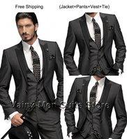 Wholesale 2015 Classic Slim Fit Groom Tuxedos Charcoal Grey Best man Peak Black Lapel Groomsman Men Wedding Suits Bridegroom Jacket Pants vest tie