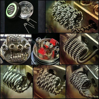 Wholesale 2016 New Hot Flat twisted wire Fused clapton coils Hive pre made wrap wires Alien coils Mix twisted Quad Tiger Heating Resistance wire
