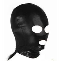 adult sex mask - 2015 Adult games Fetish hood mask Black Dew Mouth eye Slave Hood Mask Sex Product Toys BDSM Bondage Hoods