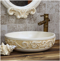 Wholesale European style luxury stage basin of carve patterns or designs on woodwork Antique art the sink of the basin that wash a face