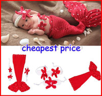 Wholesale New Newborn Baby Crochet Diamond Knit Costume Photography Prop Outfit Cotton Red Mermaid headband pc set melee