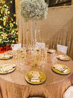 table cloth - 120 quot Gold Sequin Tablecloth Hot sale glitter sequin table cloth for wedding printed stretch cover