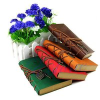 Wholesale C18 Classic Retro Vintage Leather Bound Blank Pages Journal Diary Notepad Notebook
