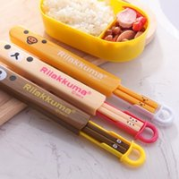 Wholesale BF010 Cute cartoon easily bear environmental protection convenient plastic chopsticks set CM