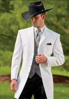 Wholesale New cowboy series white suit groom wedding suit jacket and pants