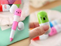 Wholesale XA Creative Pills Telescopic Mini Smiling face Ballpoint Pen Students Office Stationery Holiday Gifts
