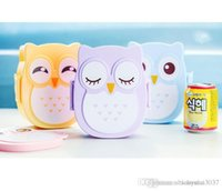Wholesale Fun Life Bento box Cartoon cute owl Bento Lunch meal box tableware Easy Open microwave oven lunchbox TY786