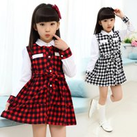 Wholesale 2015 new Baby princess dress korean children spring clothes long sleeve grid skirts for girls kids casual outwear