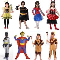 Wholesale Boy Kids Girls Spidermen Bat Supermen Cosplay Fancy Dress Indian Costume Party Children Day Christmas Theme Colthes