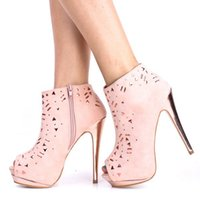 rubber boots - Pink Irregular Rivet Women Shoes Boots Peep Toes Suede Ankle Length Summer Boots For Women Shoes Made to order Ankle Rubber Boots Platform