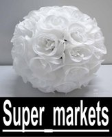 pomander - 12 Inch Wedding silk Pomander Kissing Ball White roses HUGE