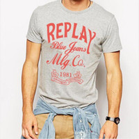 Wholesale Hot cotton man male boys brand replay blue jeans letters print short sleeve O neck T shirt Tees XS XL