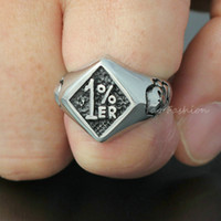 Band Rings band club - Men er One Percenter Outlaw Biker Motorcycle Club Skull Stainless Steel Ring Biker Patch Last One Percent Rebel