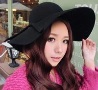 Wholesale 2015 Spring Winter Warm New Style Vintage Soft Women Wide Brim Wool Felt Bowler Fedora Hat Floppy Cloche Flannel Butterfly Tape Hats J3858