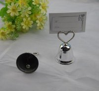 Wholesale quot Kissing Bell quot Place Card Photo Holder Heart Bell Place Card Holder Wedding Party Decoration Favors