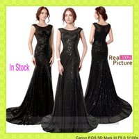 sequin appliques - In Stock Sequins Black Formal Prom Evening Party Dresses Sheer Neck Lace Appliques Mermaid Celebrity Mother Gowns Cheap Real Image