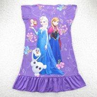 Wholesale Fast Summer Girls Dresses Frozen Princess Patterns Children Nightdress Cartoon Kids Pajamas Dress Sleepwear