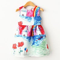 b vest - 2015 Sweet Style New Summer Formal Dresses Children Girl s Sleeveless Vest Printed Dress Kids Girl Princess Birthday Dresses B