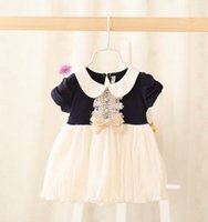 baby blue ribbon - Summer Baby Girls Short Sleeve Lace Ribbon Bow Dresses Children Girls Pink Navy Blue Gauze Dresses Toddler Baby Adorable Lapel Dress B3513