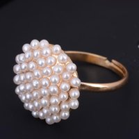 artificial jewelry beads - 12pcs Hot New Korean Fashion Artificial Pearls Bead Flower Ring Engagement Rings Women Jewelry Gift mm Free Ship