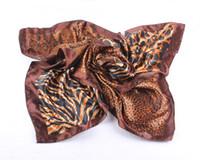 Wholesale HIGH FASHION cm Women satin Square Scarf Imitated Silk Satin Scarves Shawl Hijab Snake Zebra Leopard Scarf JJAL ZS56