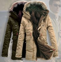 army trench coats for men - 2015 Mens fur collar hoody thick jacket coat outwear trench overcoat padded varsity jackets for men