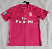 Wholesale 2014 Reals Madrid Away Pink Soccer Jerseys New Style Highest Quality Hot Sale Athletic Apparel Top Thai Quality Cheap Football Uniform