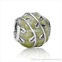 art quality bangle - 925 Sterling Silver Brand Art Enamel Green Lampwork Round European Charm Bead For Best Quality Hot Women Snake Bracelet Bangle