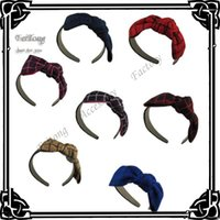 Cheap 10PCS lot NEW women check Hair band with bow satin hard headband hair accessory 7colors for your choice