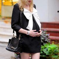 Wholesale 2015 Women s Maternity Dress Sleeve Round Stretchy Pregnant Dresses Vestidos Bowknot Chiffon Woman Dress F60E3433