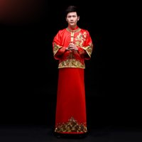 Wholesale NEW Chinese Traditional Bridegroom Clothes Tang Suit Gold Embroidery Ancient Costume Classical Xiuhe Dragon Groom Wear