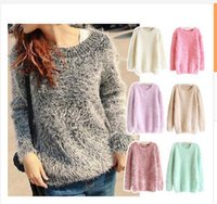 Wholesale 2015 New Women Winter Fashion Sweater Round Neck Mohair Pullover Sweater Solid Color One Size