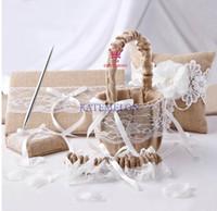 Wholesale 5pcs set new wedding favors unique Linen lace devise Guestbook Pen Set Ring Pillow Flower Basket suspenders