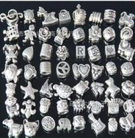 Wholesale Pandora ibetan Silver Nice Design Big Hole Spacer Beads Fit Charm Bracelet Jewelry DIY Metals Loose Beads