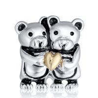 ¡Nuevo! Comercio al por mayor de plata 925 lindo amantes del oso encanto del corazón del oro encantos europeos cupieron la pulsera de cadena de la serpiente de la manera de la joyería DIY