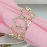 rhinestone napkin ring - Gold Crown Rhinestone Napkin Rings Hotel Wedding Supplies Table Decoration Accessories R176