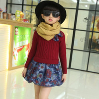 children fashion sweater - 2015 Girls Long Sleeved Princess Dresses Children Sweater Tops Stitching Floral Skirt Dresses Kids New Fashion Winter Dresses