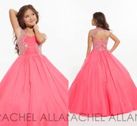 angels hunter - Lovely Angel Girl Pageant Dresses Rachel Allan Keyhole Back with Beads Princess Organza Child Junior Bridesmaid Gowns Custom BA0252
