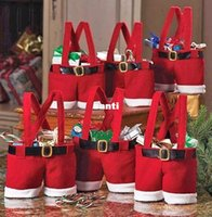 food wrap - Claus Pants Candy Treat Bag Cute Nylon Santa Pants Treat Candy Bags for Christmas Gift Red Bag Wedding Supplies