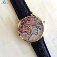 Wholesale 12pcs Fashion Quartz Watches color world map women Leather Sports Casual Dress Wristwatches relogios feminino w80b