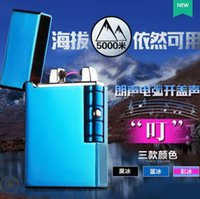 custom lighter - High quality ublue ice usb charging pulse arc creative personality slim windproof lighter men metal electronic cigarette lighters custom