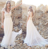 brocade - 2015 Bohemian Wedding Dresses from Anna Campbell Bridal gowns sweetheart cap sleeves Lace BROCADE chiffon Tulle cascading Pearls bow in back