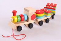 Wholesale children s educational Three small trains toys Baby wooden blocks trains kids Models Building Toy