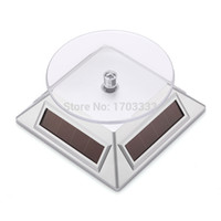 Wholesale 100pcs Solar Power Turntable Degree Rotate Display Stand Solar Turntable for Mobile Phone MP3 Digital Camera Jewelry Display
