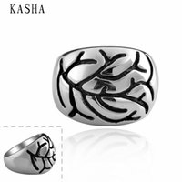 Wholesale Stylish New L Stainless Steel Men s Skull Rings Punk Vintage Party Skeleton Jewelry L stainless steel punk ring KASHA010