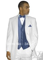 Cheap notched lapel grooms tuxedos Best white wedding suits for men