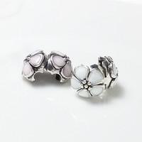 authentic pandora clips - 2015 New Enamel Light Pink white sakura Silver Clip Charm Beads Authentic Silver Fits Pandora Style Charm Bracelets Bangles