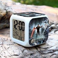 Wholesale DHL Star Wars LED Color Changable Thermometer Calendars Digital Alarm Clocks Yoda Despertador Star Wars Figure Anime Table Clock B253