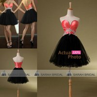 coral for sale - Coral and Black Cocktail Dresses For Formal Hot Sale Cheap Actual Image Multi Color Corset and Tulle Crystals Short Evening Party Gowns