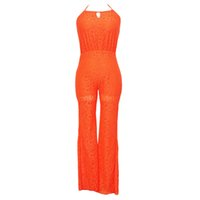 Polyester chain link fence - 2015 Freeshipping Lace Loose Solid Full Length Casual Jumpsuit Sexy Sleeveless Halter Backless Chain Link Fence Slacks Ad23006